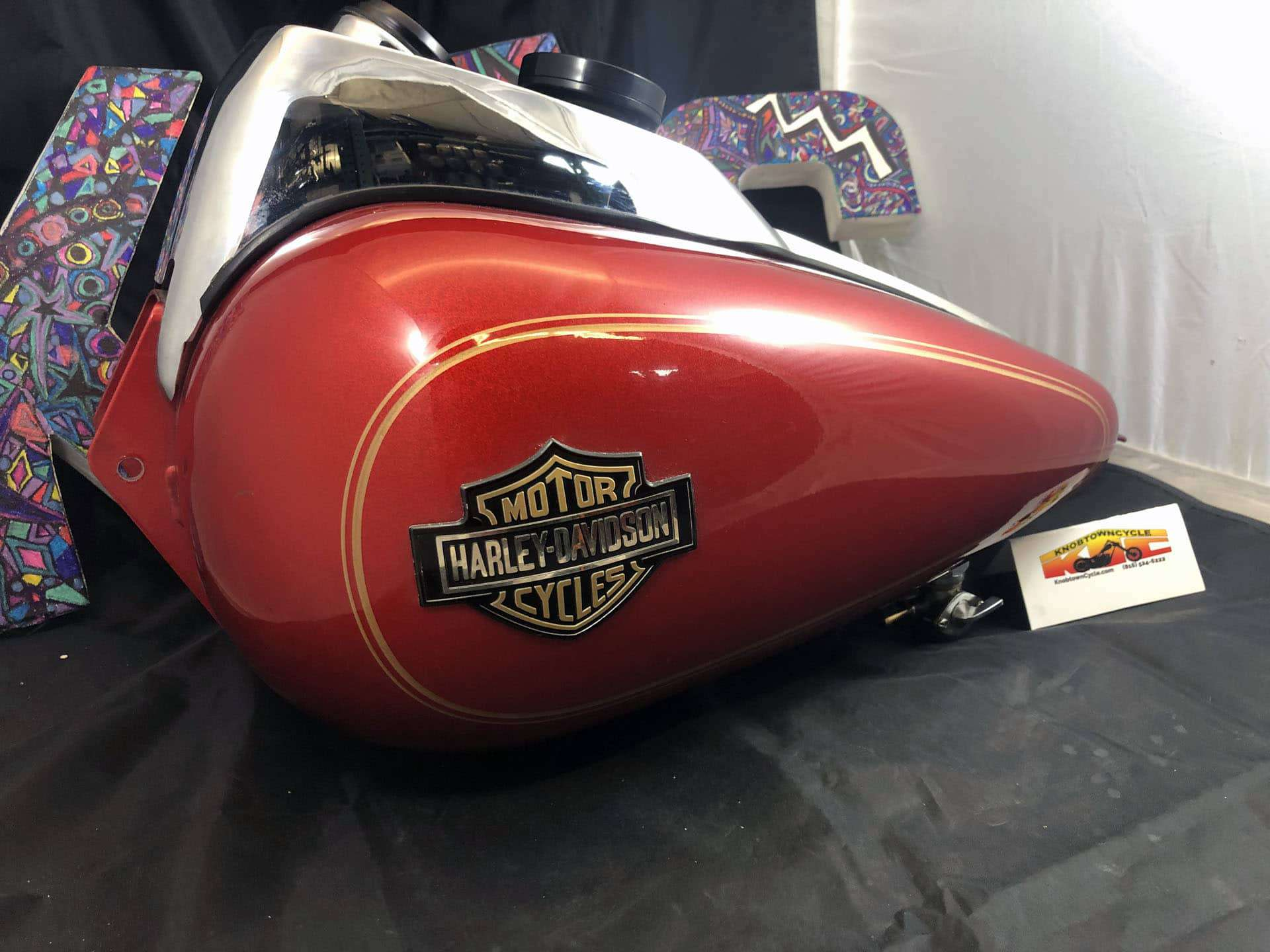 Harley Davidson FXR Red with Gold Fuel Tank with Gauge. 61044-82B